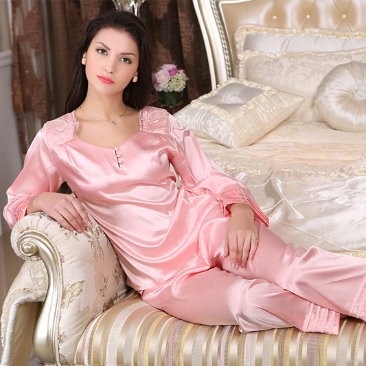 2017 primavera e no verão das Mulheres de seda do pijama terno agasalho pijamas de seda de manga comprida definir fêmea elegante pijama terno vestidos