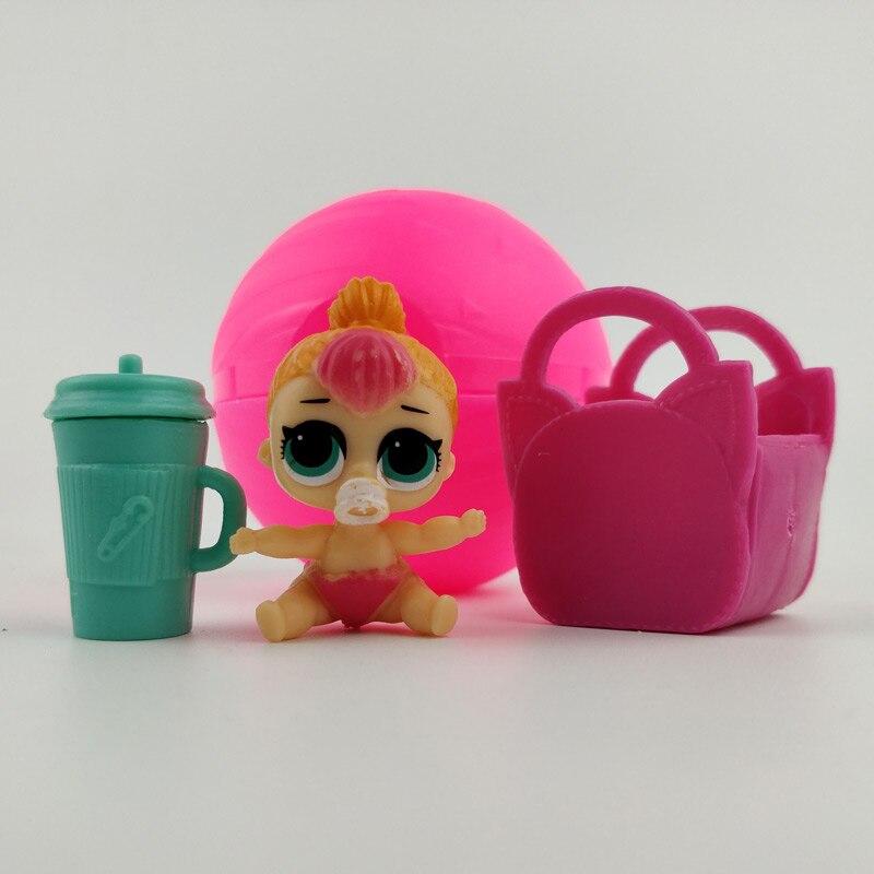 1Pc 7cm mini baby little girl figures with bottle basket in ball lol pet bebek boneca doll toys for Kids Best Gifts l.o.l shop