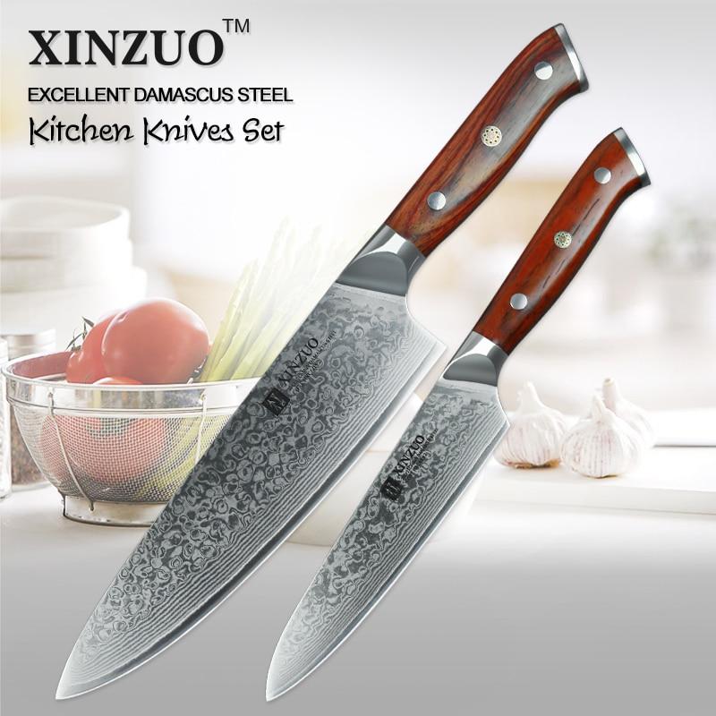 xinzuo 2 pz coltello da cucina set da cucina in acciaio giapponese di damasco coltello gyuto