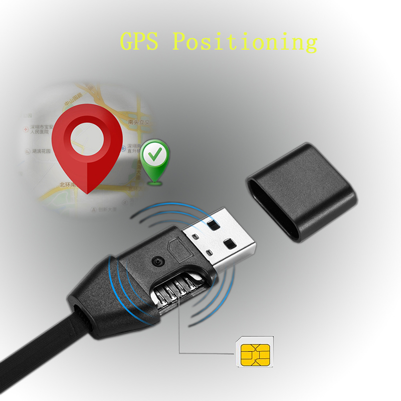 3 In 1 GIM Answer Monitor USB Charging Data Transfer Cable GPS Locator GPS Position Line Tracking Cord Compatible With SIM Card