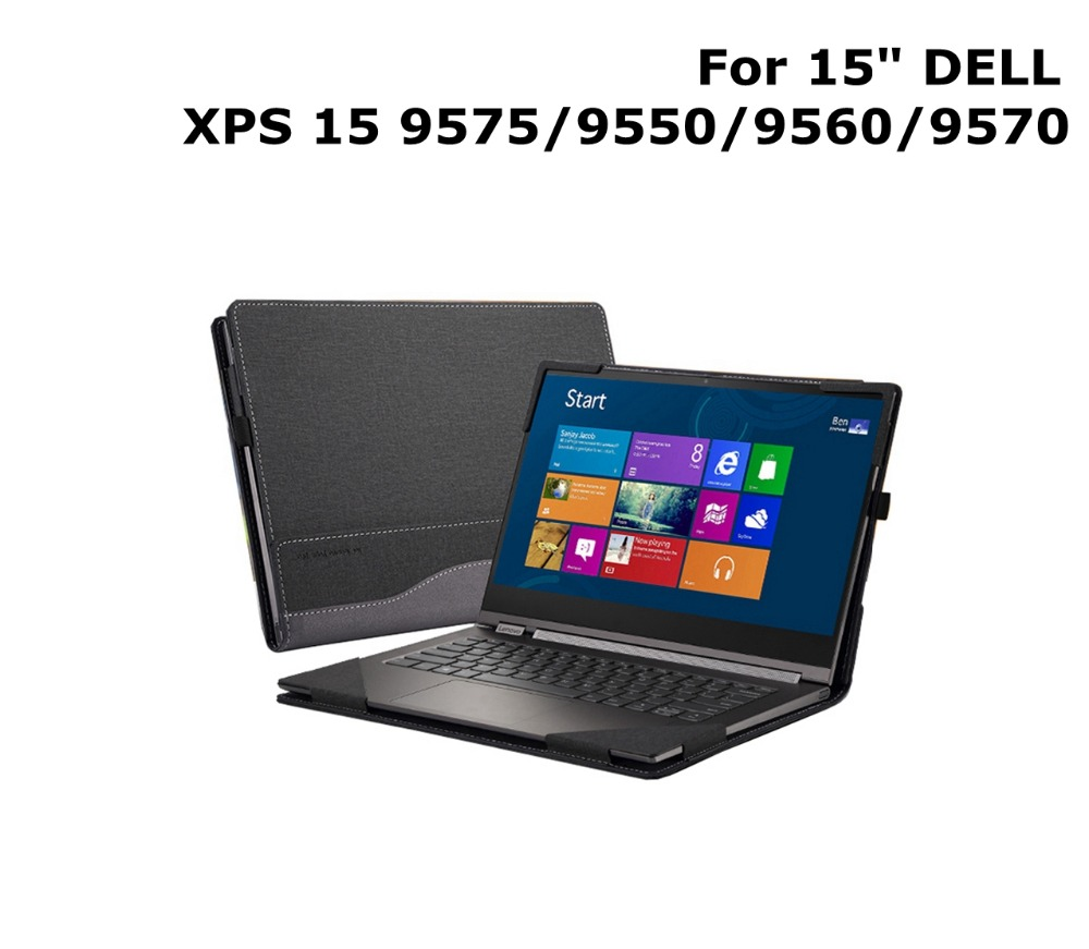 """Case For 15"""" DELL XPS 15 9575/ 9550/ 9560/ 9570 models PU Leather Folio Stand Protective Laptop Cover For Dell XPS 15.6 Inch"""