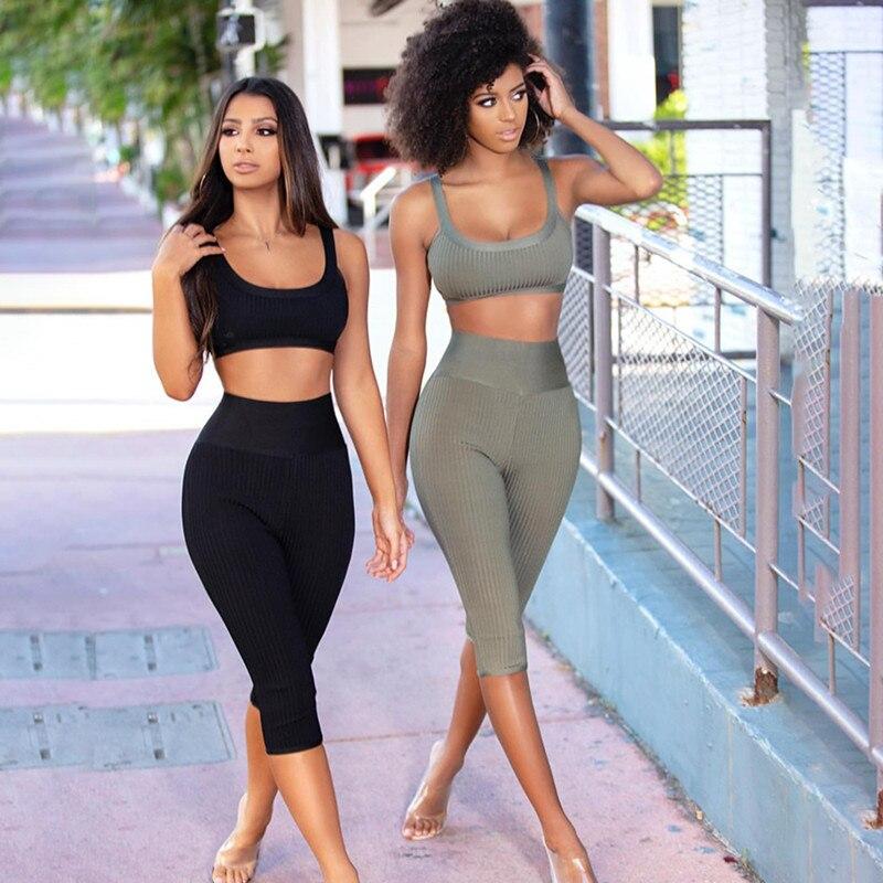 Two Piece 2019 Women s High Quality Bodycon Clubware Black Khaki Gray Bandage 2 Piece