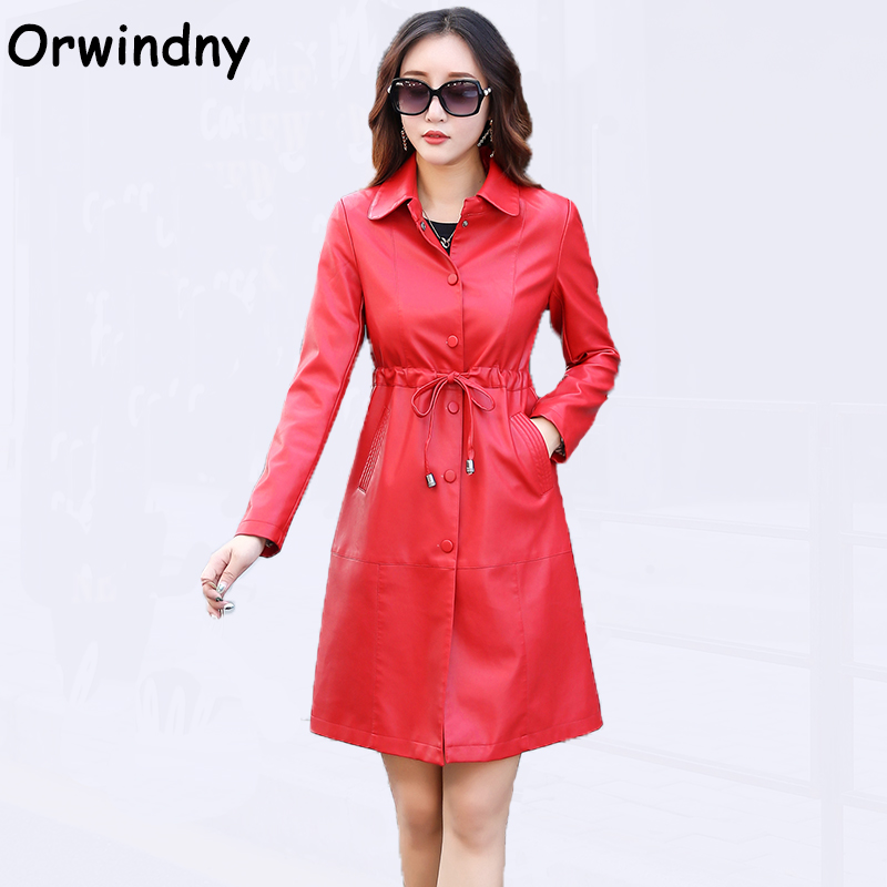 Orwindny New Slim Casual Woman   Leather   Coat Long   Leather   Trench Clothing Turn-down Collar   Leather   Jacket M-5XL