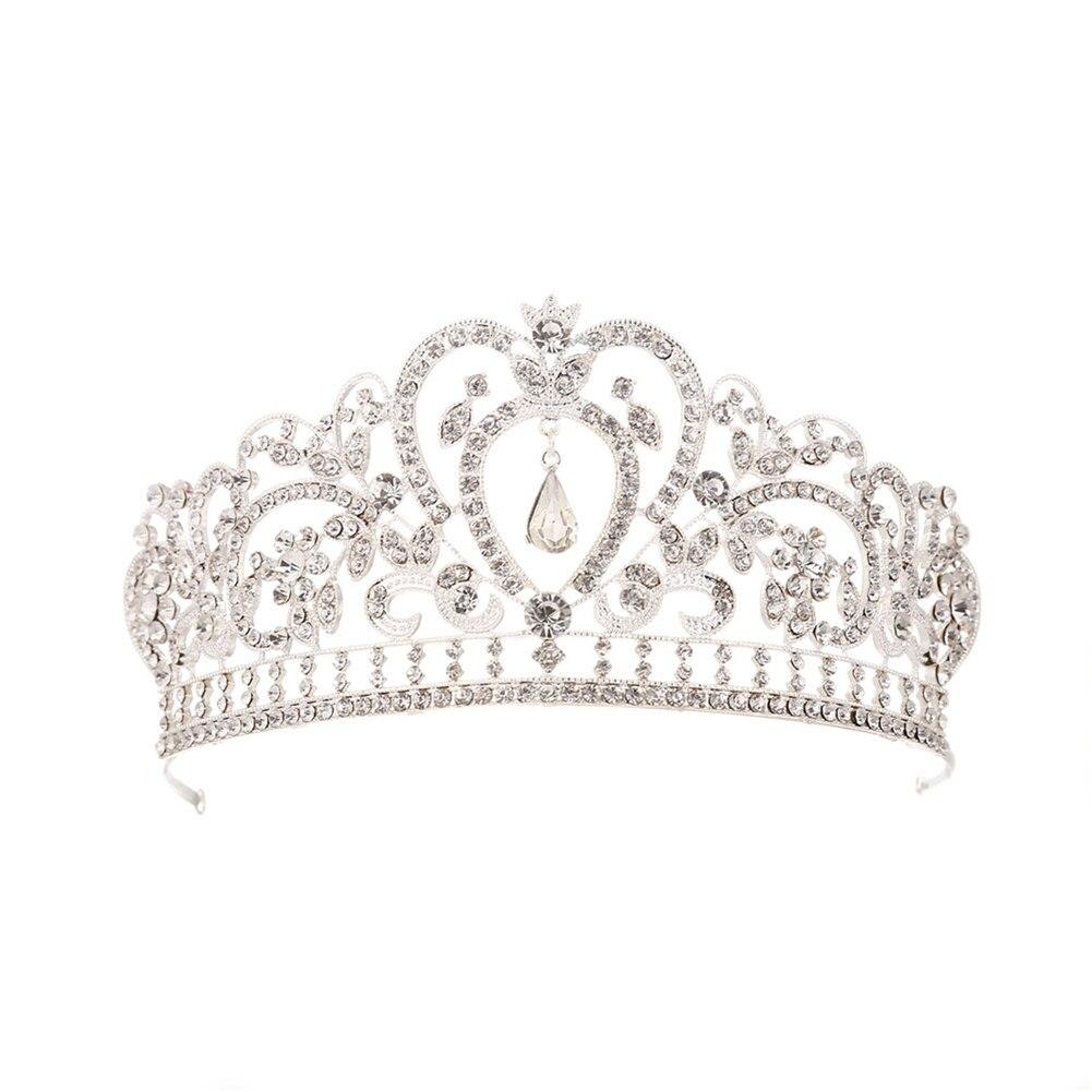 1 Pc Crystal Queen Crown Haar Sieraden Strass Bruiloft Sieraden Bruids Prinses Hoofdband Bruids Kronen Tiara Voor Vrouwen (zilver
