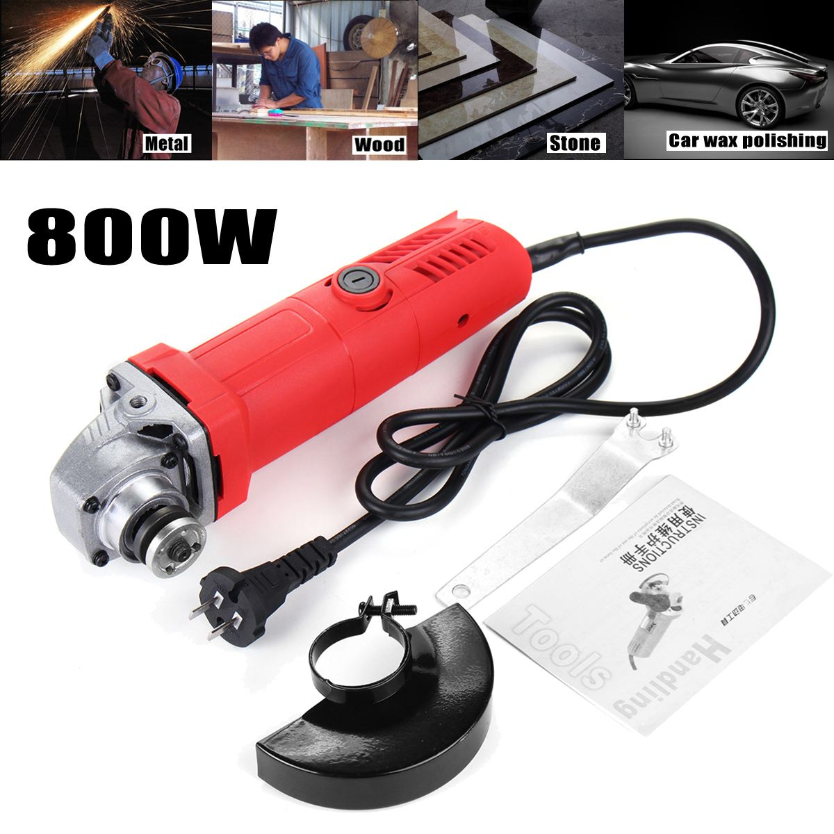 100mm 800W 220V Portable Electric Angle Grinder Muti-Function Household Polish Machine Grinding Cutting Polishing Machine
