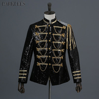 Shiny Black Gold Sequins Blazer Jacket Men 2018 Brand New Nightclub Dance Blazer Homme Party Stage Singer Prom Suits Costumes