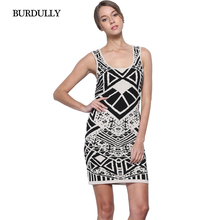 Spring New Sleeveless Vest Female Dress Long Section Bottoming Geometric Pattern Stitching Cotton Women Dress Evening Sexy Party