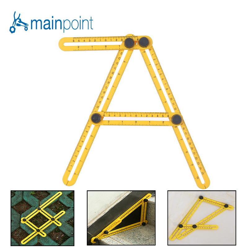 Mainpoint Folding Feet Adjustable Four-sided Ruler All Angle Accurate Measuring Instrument Builders Handymen Engineer 300mm multifunctional combination square ruler stainless steel horizontal removable square ruler angle square tools metal ruler