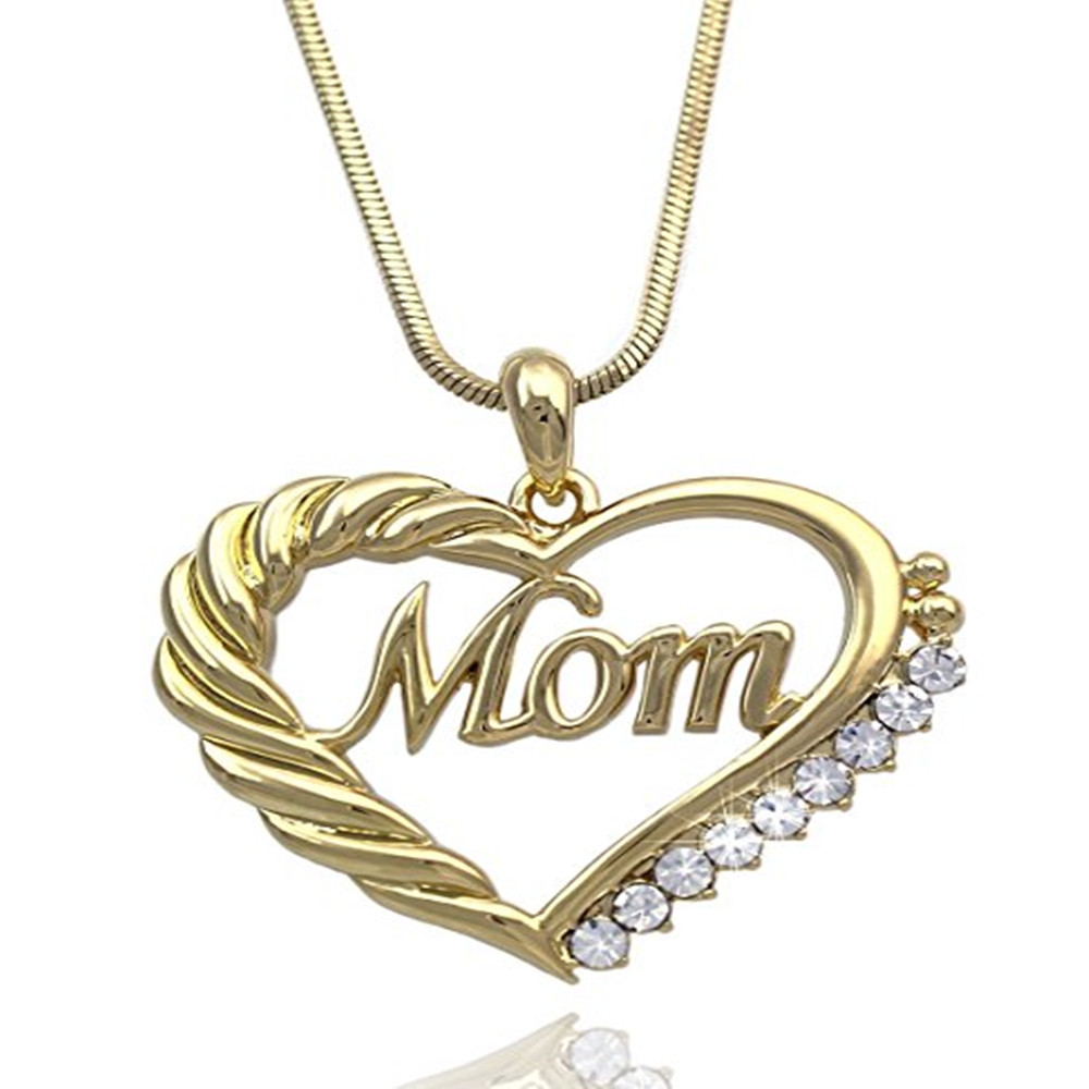 Hollow Golden Crystal Heart Mom Words Charm Snake Chain ...
