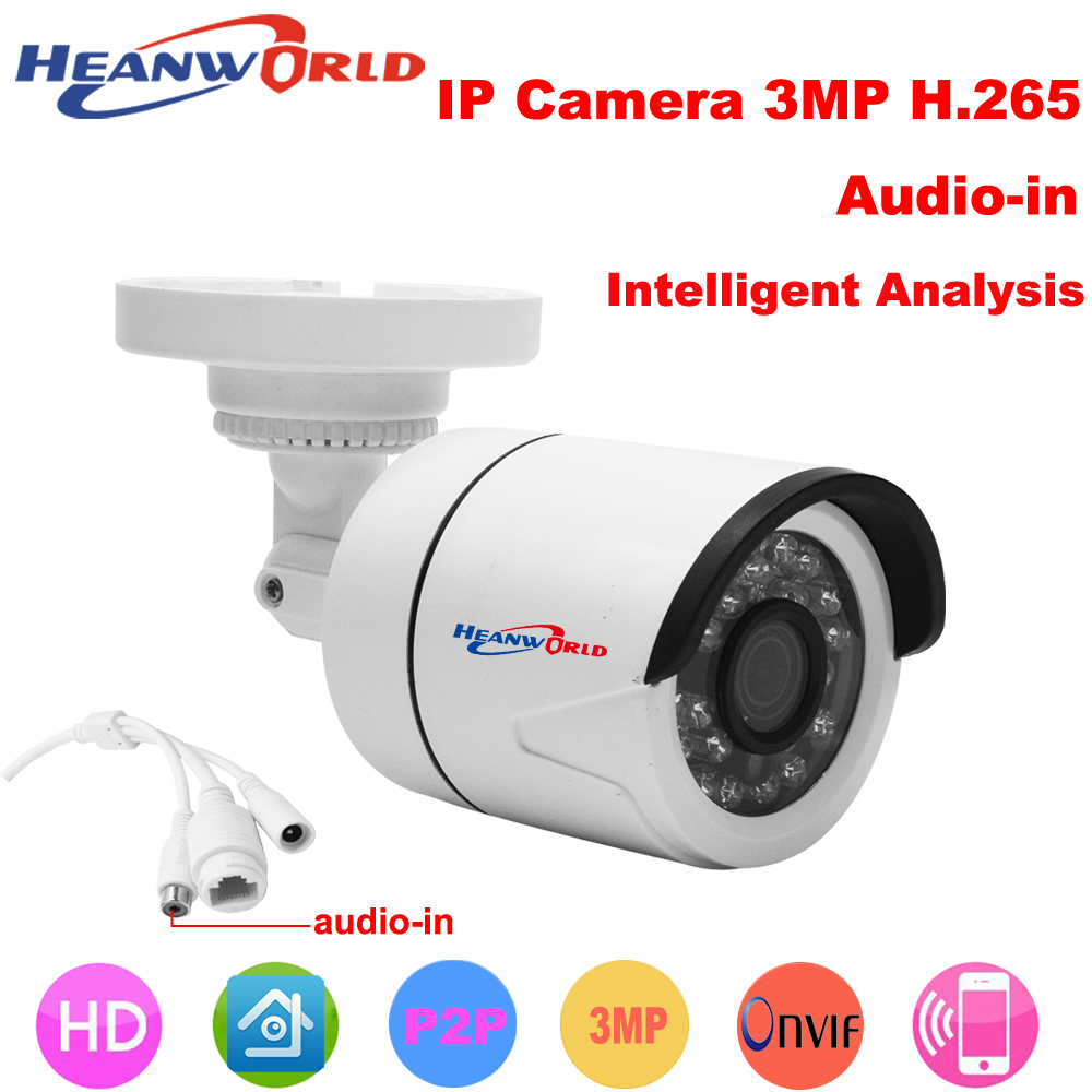 Heanworld H.265 HD 3.0MP IP camera mini bracket Camera outdoor waterproof Night Vision Security CCTV webcam support smartphone heanworld dome ip camera hd h 265 5 0mp cctv security camera video network camera onvif surveillance outdoor waterproof ip cam