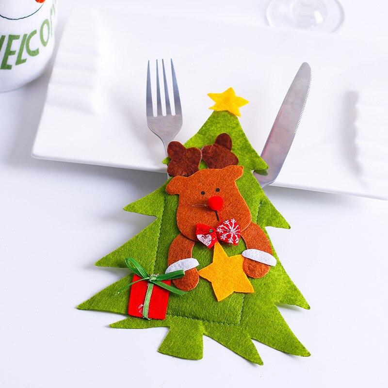 Шляпа Санты, олень, Рождество, Год, карманная вилка, нож, столовые приборы, держатель, сумка для дома, вечерние украшения стола, ужина, столовые приборы 62253 - Цвет: C