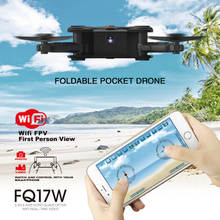 FQ777 FQ17W WIFI FPV Foldable Pocket Drone With 0.3MP Camera Altitude Hold Mode RC Quacopter BNF Version No Transmitter F20370/2