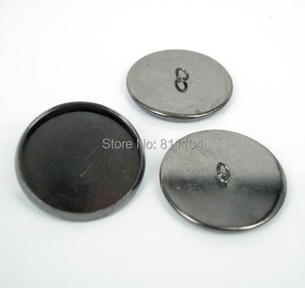 20 мм Gunmetal Черный Медь Покрытая Пустые Основы Круглый Круг Рамка Кабошон Настройки Шапки Кнопки Назад Loop Выводы