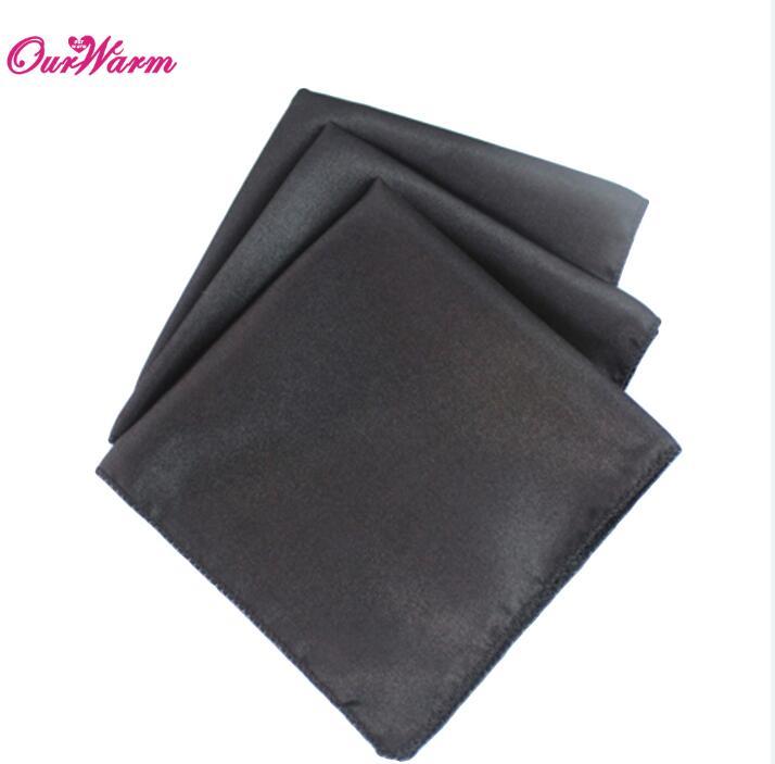 OurWarm 50 шт. атласная ткань салфетки для стола квадратная карманная салфетка для ресторана отеля банкета свадебного стола 30*30 см - Цвет: BLK