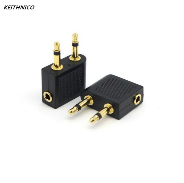 KEITHNICO 2Pcs Golden Plated Male 3.5mm Untuk Perempuan Jack Socket Audio Adaptor Pesawat Terbang Penerbangan Adapter Headphone