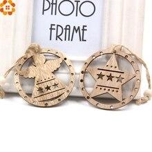 12PCS Creative DIY Wooden Pendants Ornaments Wood Crafts Natural Christmas Party Decorations Xmas Tree Kids Gifts
