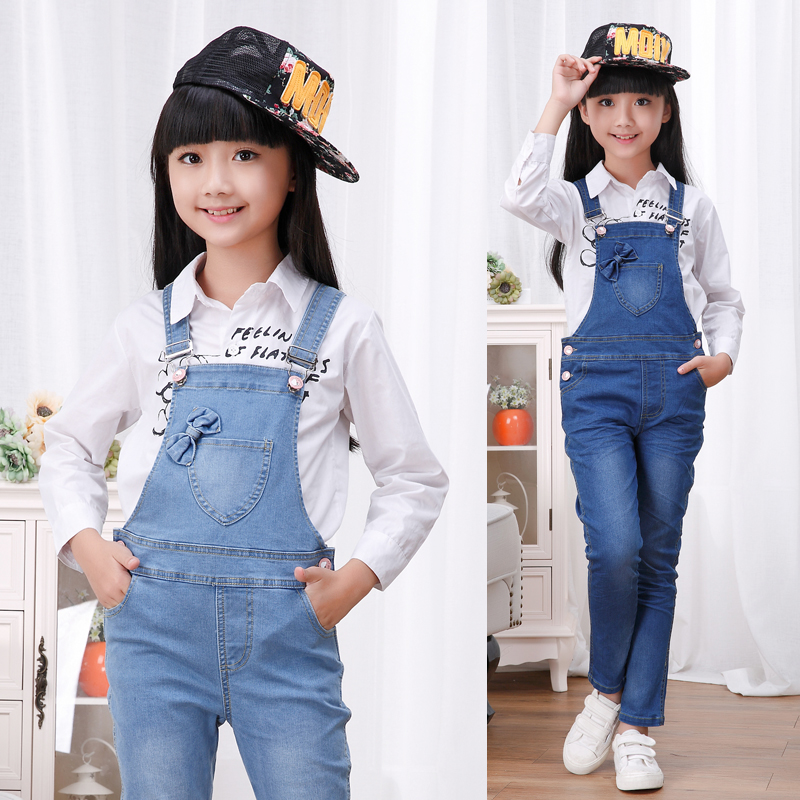 2017 autumn children's clothing girls jeans denim blue baby girl jeans for girls big kids clothes jeans overalls long trousers