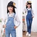 2016 осенью детская одежда девушки джинсы синий девочка джинсы для девочек большие дети одежда джинсы комбинезоны длинные брюки