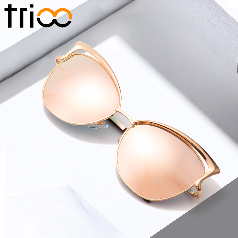 TRIOO High Quality Cat Eye Women Sunglasses Rose Gold Metal Oculos de sol Reflective Summer Pink Sun Glasses for women Shades