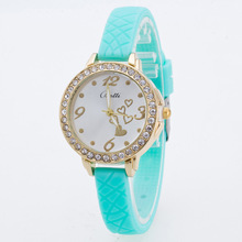 Cute Bling Rhinestone Thin Soft Rubber Silicone Quartz Wristwatches Wrist Watch for Girls Women Black White Pink Mint OP001