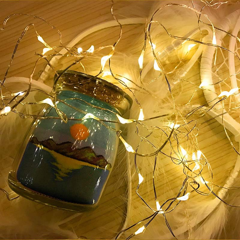 Christmas Garland String Lights LED 2M 20Leds Fairy Lights Battery CR2032 Waterproof Holiday Decoration Silver Wire Party Lights