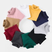 Girls bottoming shirts autumn winter  new long sleeves pure cotton high collars childrens T-shirts.3-12YEARS