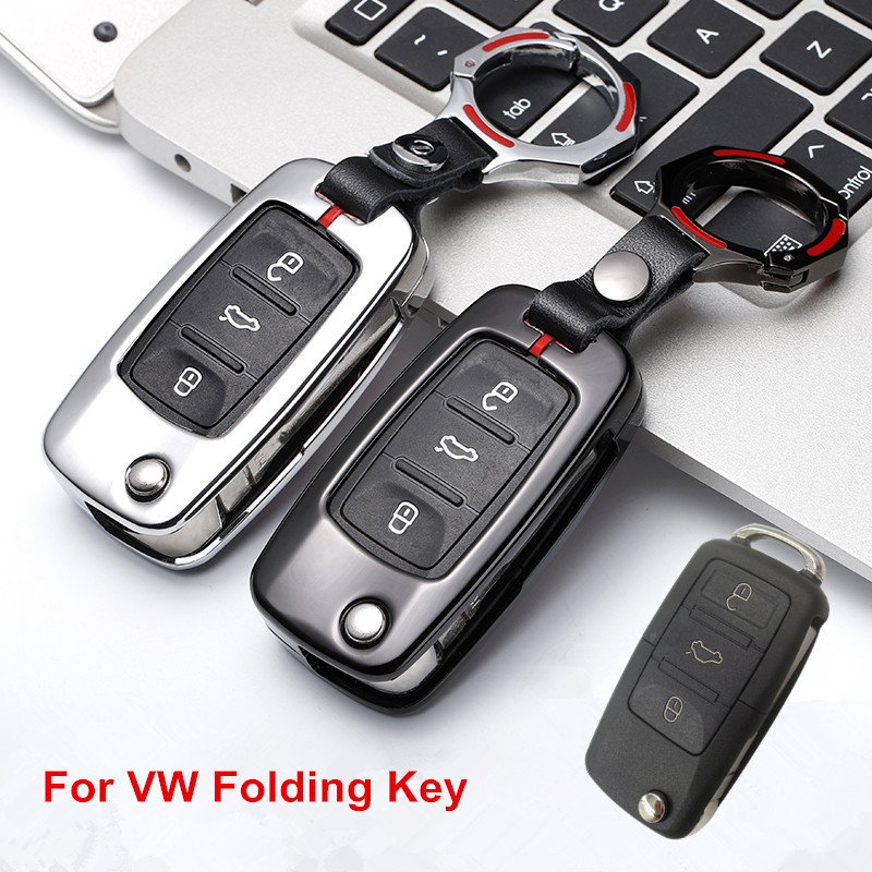 Folding Car Key Case Cover for VW Volkswagen Golf 4 5 6 Jetta POLO Passat B5 B6 For Skoda Superb Octavia Fabia SEAT Ibiza Leon