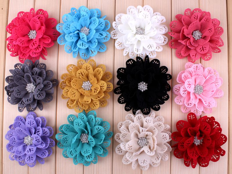 "(50pcs/lot)3.8"" 12 Colors Hollow Out Leaf Rhinestone Button Flowers For Headband Classic Fabric Flowers For Cute Kids"
