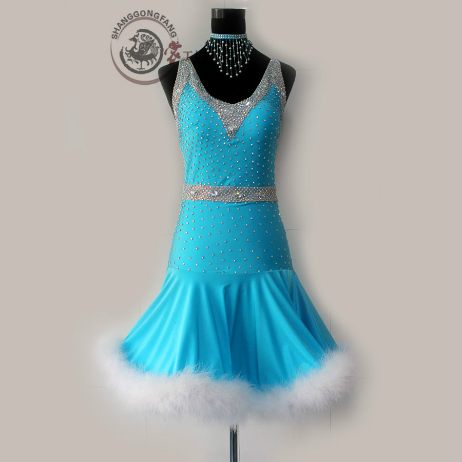 New style Latin dance costume sexy diamond Feather latin dance dress for women children latin dance competition dresses S-4XL