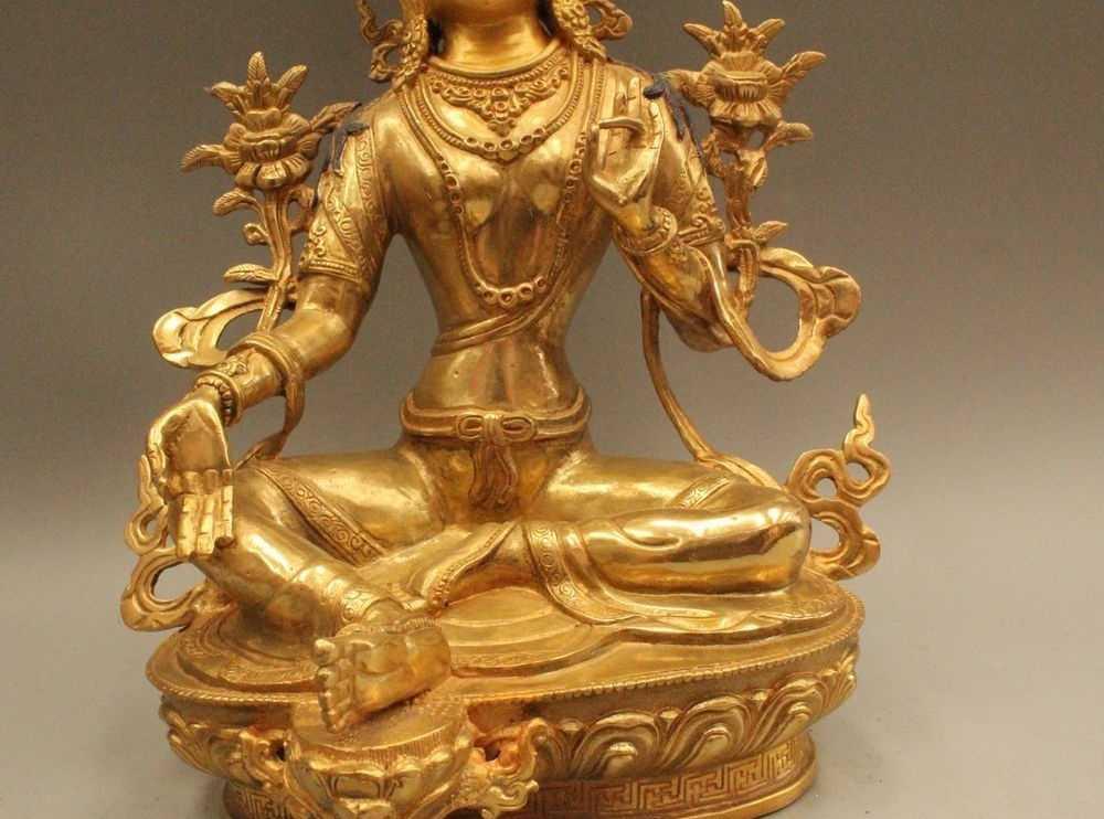 """12 """"Тибет Буддизм Бронзовый Gild махаяны Зеленая Тара просвещения статуя богини"""
