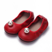Genuine Leather Children Shoes Girls Shoes Fashion Princess Sandals Kid Designer Single Casual Shoes Soft Outsole with Pearl Red