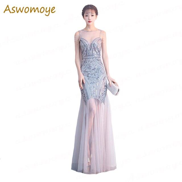 9613c79c5 Aswomoye elegante sirena vestido de noche largo 2018 nuevo de alta costura  ver-a través