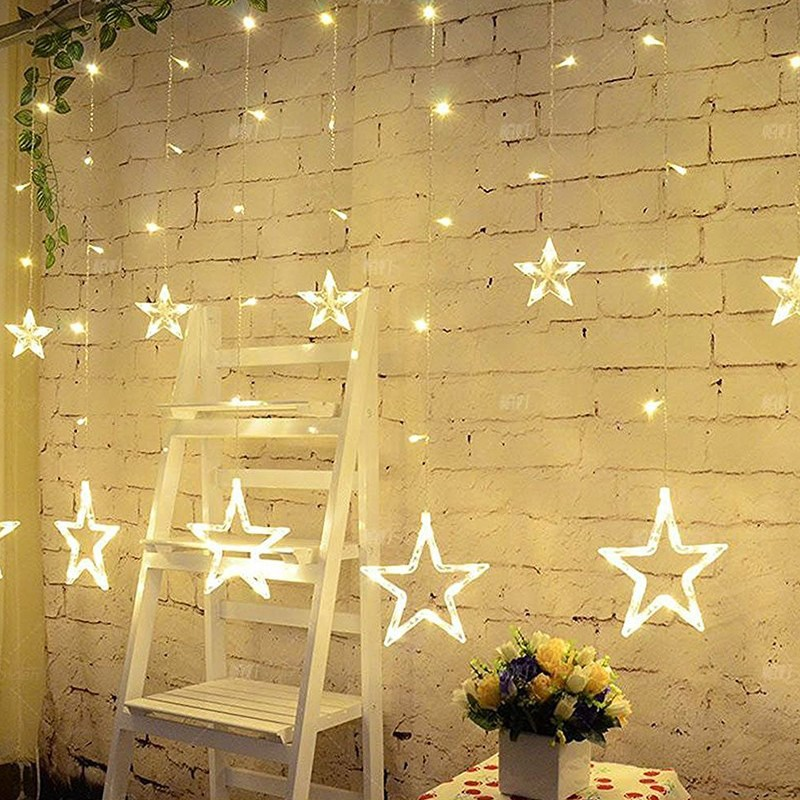 5M 138LEDs Light String Star Shape Curtain Light 8 Kind Lighting Modes Holiday Christmas Lights Home Fairy Wedding Party Decor ...