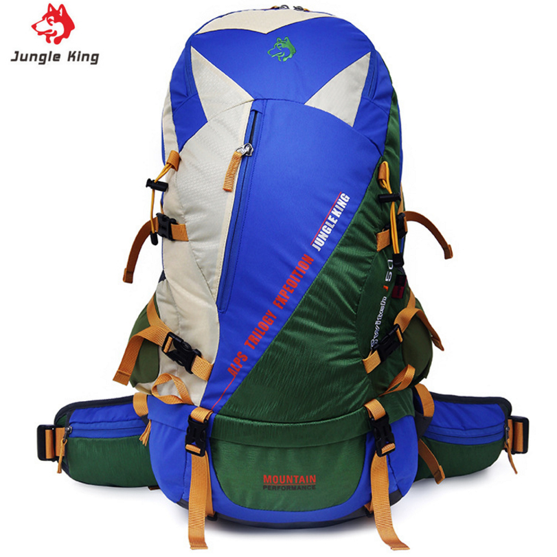JUNGLE KING 50L Hot Sale Yellow/Brown/Blue Waterproof Multifunctional Camping Backpack bag with Splicing color hiking backpack все цены