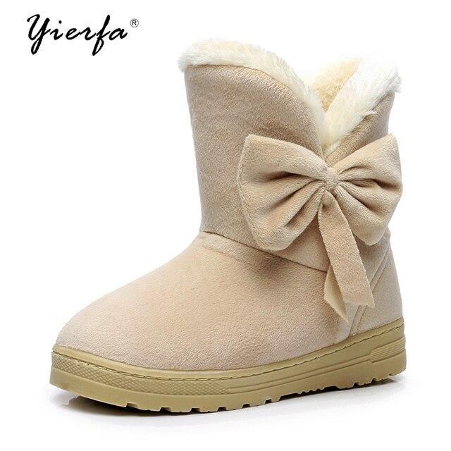 Новинка 2018 года; женские зимние ботинки; однотонные мягкие милые женские ботинки без застежки с бантом; зимняя обувь на плоской подошве с круглым носком