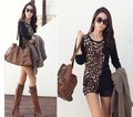 1pcs Hot Selling Fashion Women trendy Cozy Noble clothes Tops Tees Stitching/Splicing Pullover Leopard pocket T-shirt