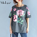 MissLymi XXXL-5XL Plus Size Short Sleeve T-shirt 2017 New Spring Summer Casual O-neck Simple Style Flowers Print Loose Women Top