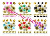 24 conjunto de Várias Cores Papel Tissue Pom Poms Flor Bolas De Ouro Lanterna De Papel, Látex & Folha Estrela Balão para Decorações Do Favor Do casamento
