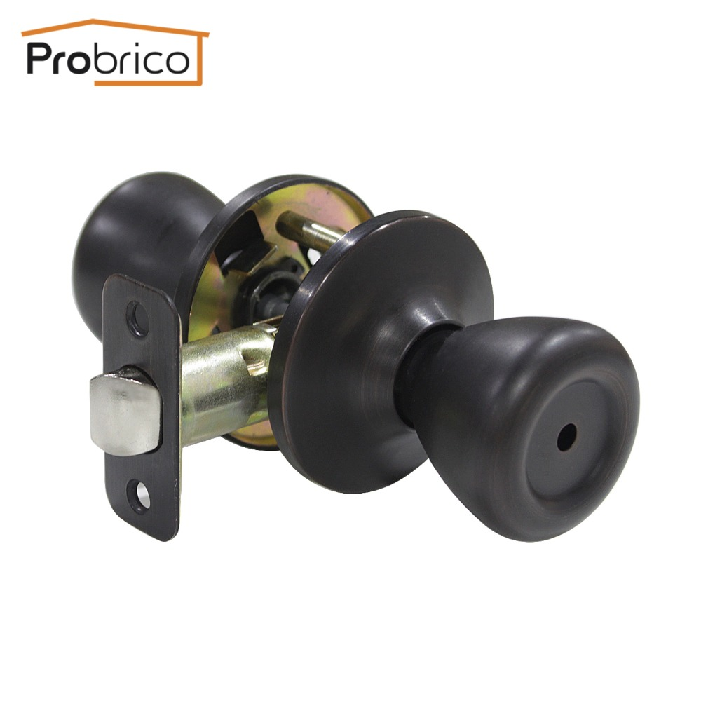 Probrico 10 PCS Privacy Door Lock Stainless Steel Safe Lock Oil Rubbed Bronze Door Handles Door Keyless Lock Knobs DL576ORBBK allen roth brinkley handsome oil rubbed bronze metal toothbrush holder