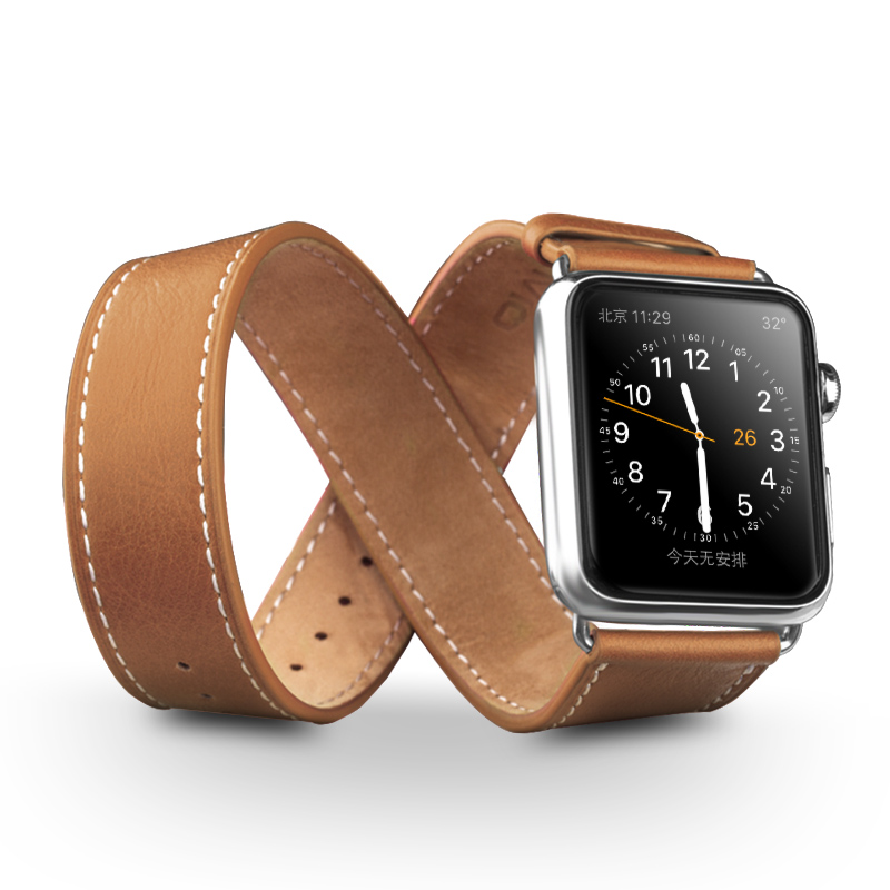 QIALINO Genuine Leather Strap for iWatch font b Sports b font Stainless Steel Pin Buckle Watchband