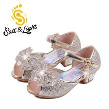 2016 Enfants nouveau mode haute talons sandales princesse style partie de bal chaussures pour les filles de haute qualité non-glissement boucle sandales