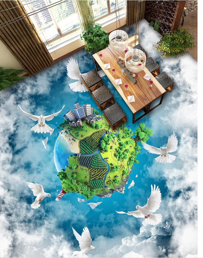 Clouds and the Earth Temple pigeons 3D floor Waterproof floor mural painting 3d floor wallpapers Home Decoration