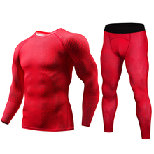 2018 New Dry Fit Compression Tracksuit Fitness Tights Jerseys Set Base Layer Legging Men's Sportswear Demix Red Gym Sport Suit