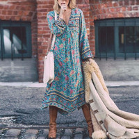 Плюс Размеры 5xlwomen цветочные длинным рукавом бохо платье дамы Вечеринка Макси платье Винтаж летнее пляжное платье Праздничное платье #121