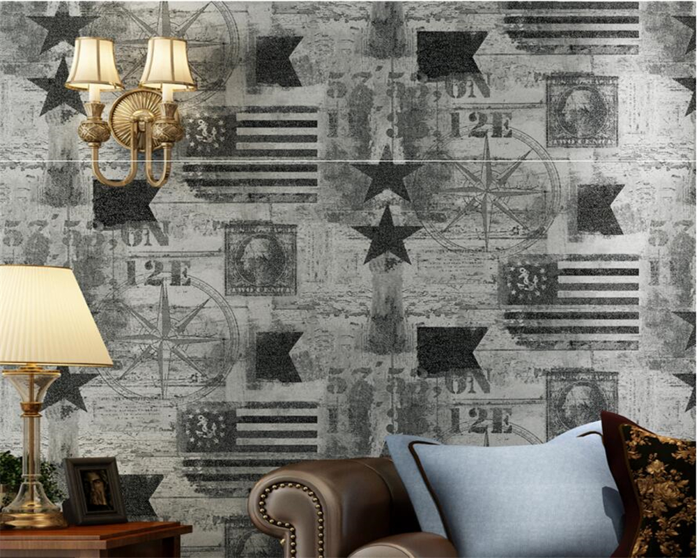 Beibehang Retro American flag star 3D Wall paper Bedroom Living Room TV Background Decorative wallpaper for walls 3 d behang beibehang high quality embossed wallpaper for living room bedroom wall paper roll desktop tv background wallpaper for walls 3 d