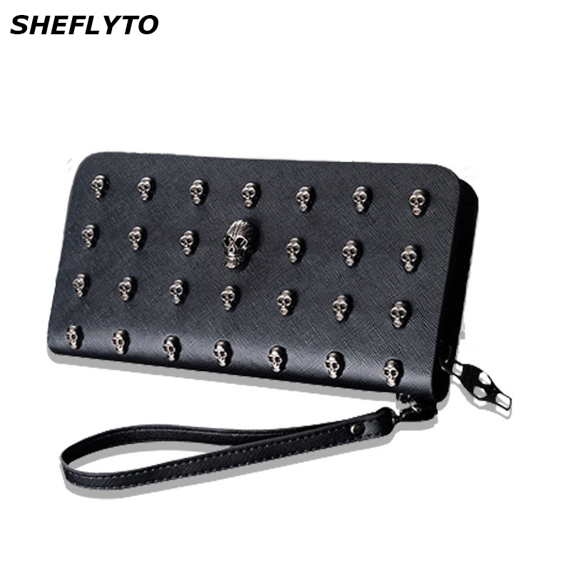 New Designer Clutch Metal Skull Wallets Women Leather Phone Wallets Female Brand Long Purses Girls Money Bags Credit Card Holder fashion genuine leather women wallets red brand designer plaid long clutch women s purse female money credit card holders party