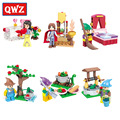 QWZ Nueva Blancanieves Y Los Siete Enanitos Prince Princesa ladrillos de La Muchacha Niños de Bloques de Construcción de Juguetes educativos Para Niños de Regalos conjunto