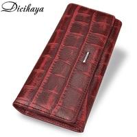 DICIHAYA Brand Genuine Leather Long Women Wallet Alligatos Hasp Clasp Purse Clutch Money Phone Bag Card