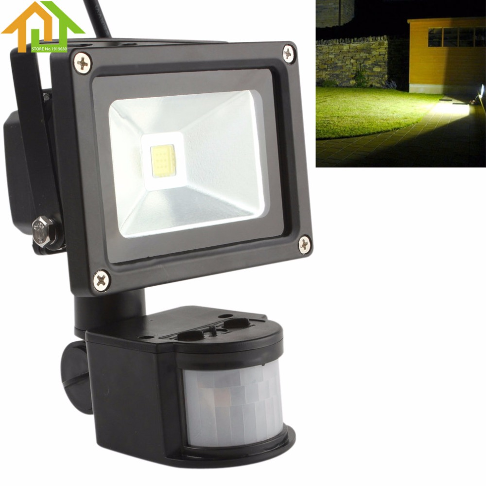 10W PIR Infrared LED Motion Sensor Flood Light Floodlight AC 85-265V Waterproof Outdoor LED Landscape Lamp
