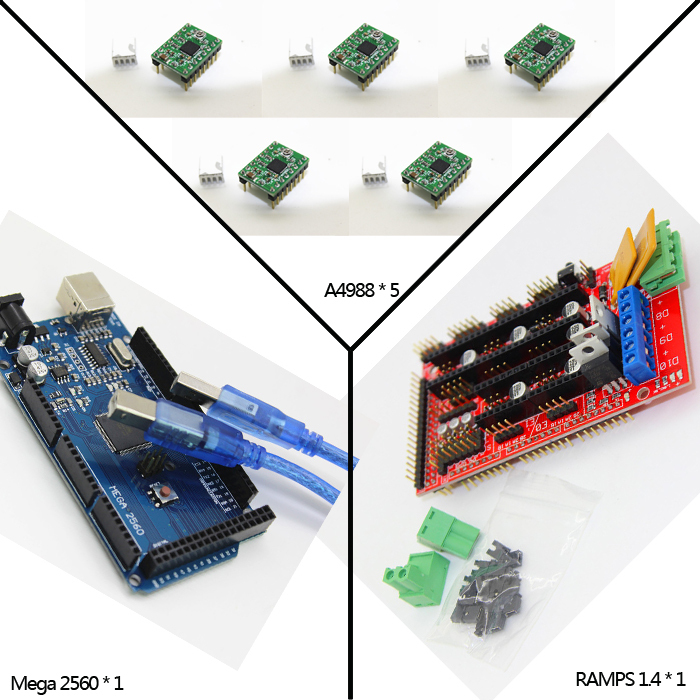 Free shipping Mega 2560 R3 + 1pcs RAMPS 1.4 Controller + 5pcs A4988 Stepper Driver Module +for 3D Printer kit Reprap MendelPrusa
